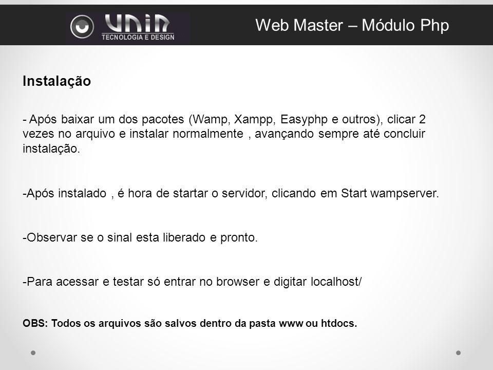 Web Master – Módulo Php Instalação