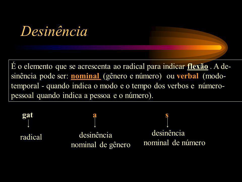 Desinência É o elemento que se acrescenta ao radical para indicar flexão . A de- sinência pode ser: nominal (gênero e número) ou verbal (modo-