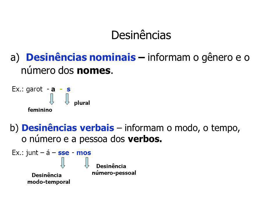Desinências a) Desinências nominais – informam o gênero e o número dos nomes. Ex.: garot - a - s.