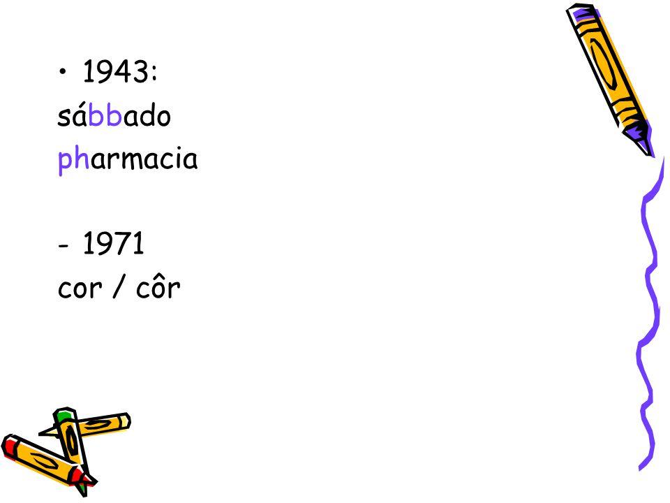 1943: sábbado pharmacia 1971 cor / côr