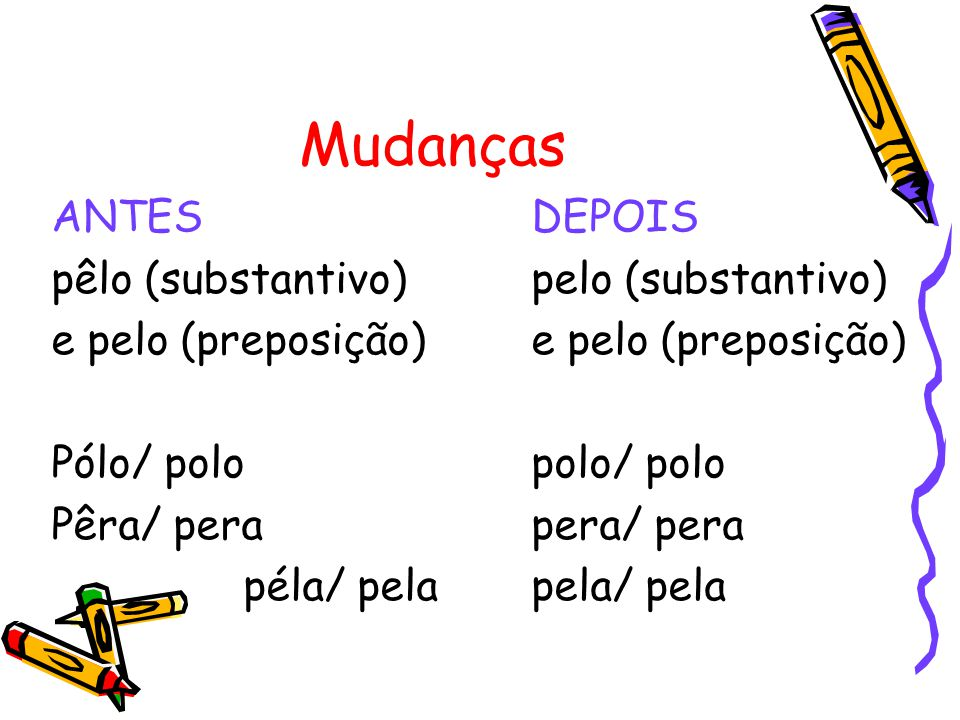 Mudanças ANTES DEPOIS pêlo (substantivo) pelo (substantivo)