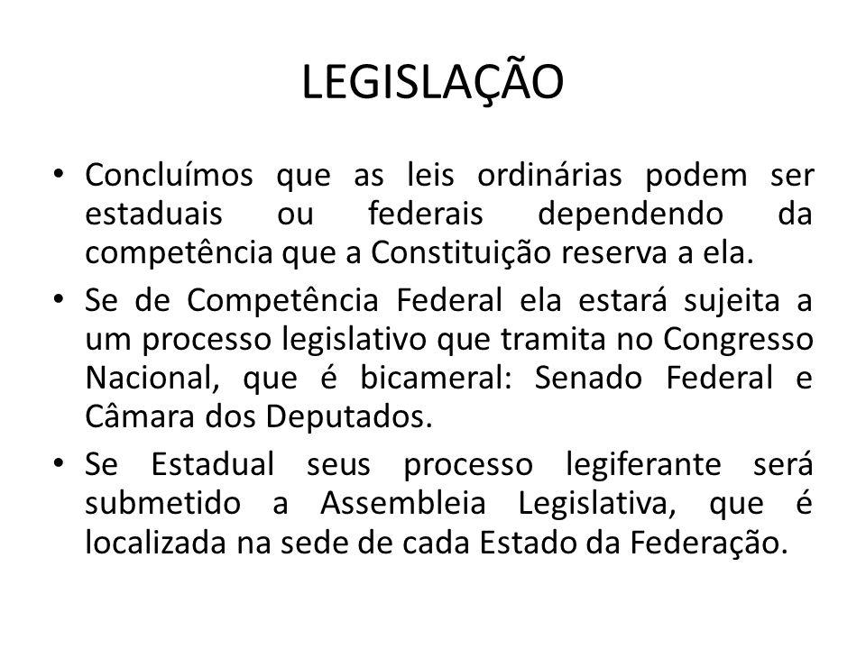 LEGISLAÇÃO Concluímos que as leis ordinárias podem ser estaduais ou federais dependendo da competência que a Constituição reserva a ela.