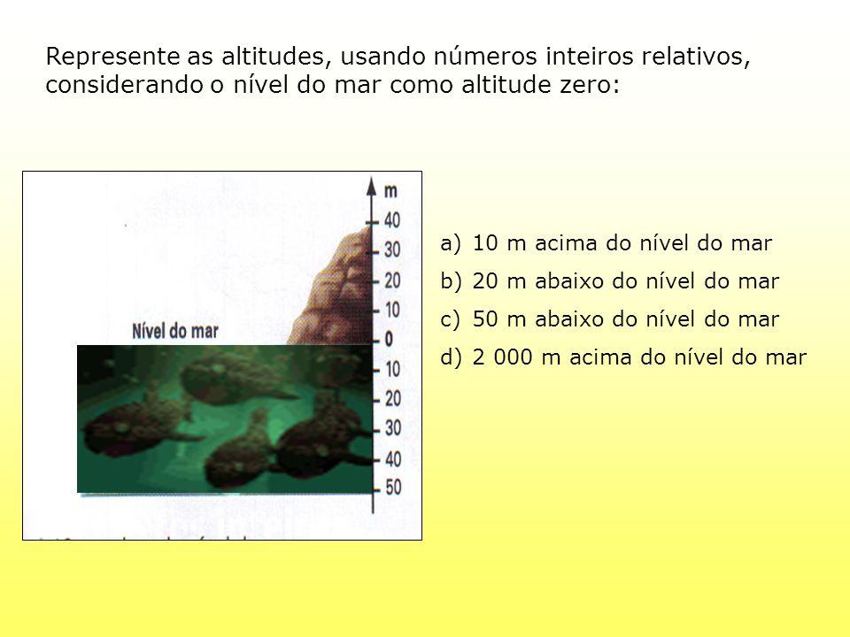 Represente as altitudes, usando números inteiros relativos, considerando o nível do mar como altitude zero: