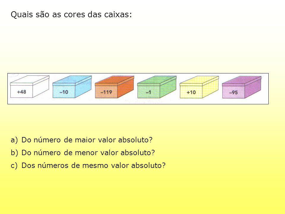 Quais são as cores das caixas: