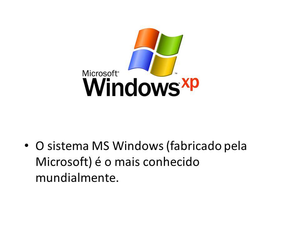 O sistema MS Windows (fabricado pela Microsoft) é o mais conhecido mundialmente.