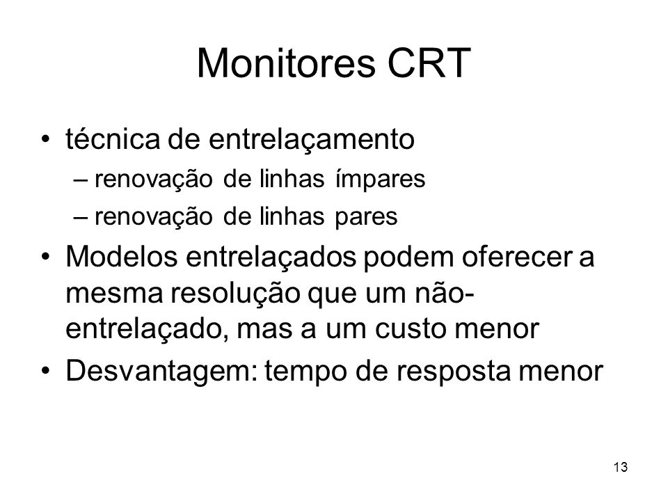 Monitores CRT técnica de entrelaçamento