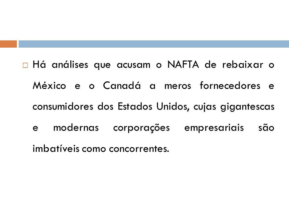 Há análises que acusam o NAFTA de rebaixar o México e o Canadá a meros fornecedores e consumidores dos Estados Unidos, cujas gigantescas e modernas corporações empresariais são imbatíveis como concorrentes.