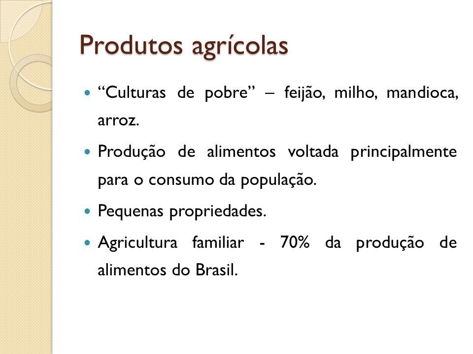 Produtos agrícolas Culturas de pobre – feijão, milho, mandioca, arroz. Produção de alimentos voltada principalmente para o consumo da população.