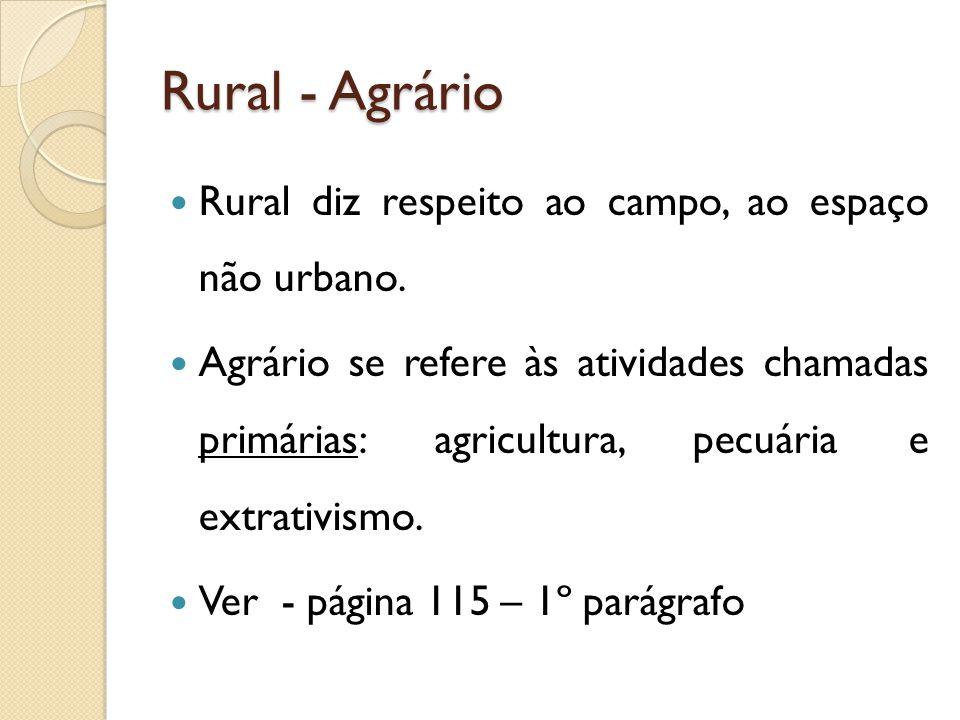 Rural - Agrário Rural diz respeito ao campo, ao espaço não urbano.