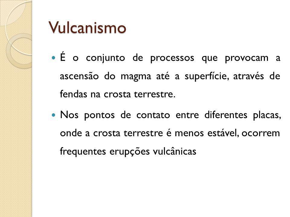 Vulcanismo É o conjunto de processos que provocam a ascensão do magma até a superfície, através de fendas na crosta terrestre.