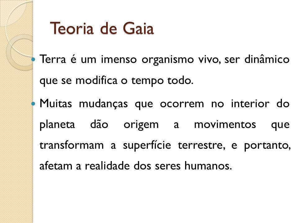 Teoria de Gaia Terra é um imenso organismo vivo, ser dinâmico que se modifica o tempo todo.