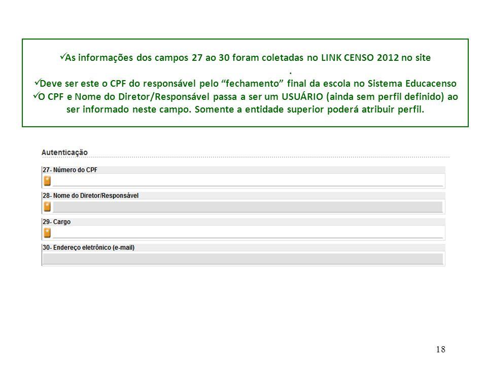 As informações dos campos 27 ao 30 foram coletadas no LINK CENSO 2012 no site www.gdae.sp.gov.br.