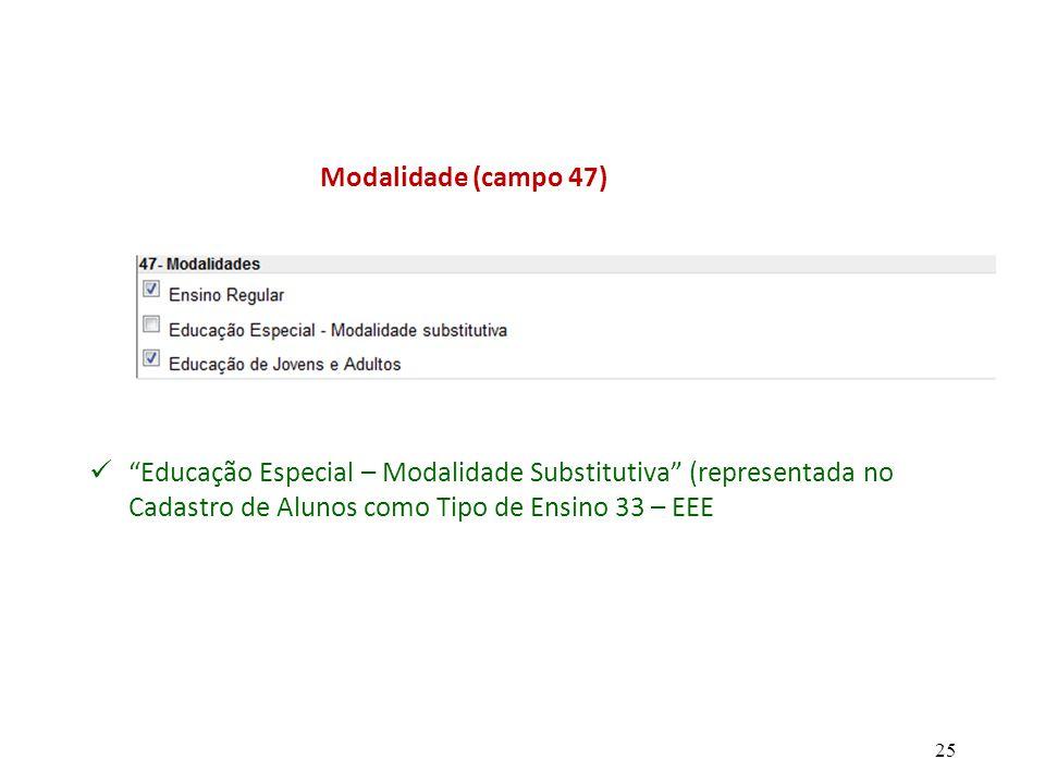 Modalidade (campo 47) Educação Especial – Modalidade Substitutiva (representada no Cadastro de Alunos como Tipo de Ensino 33 – EEE.