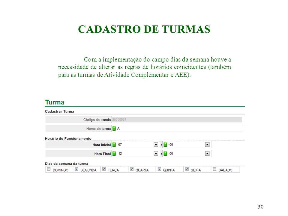 CADASTRO DE TURMAS