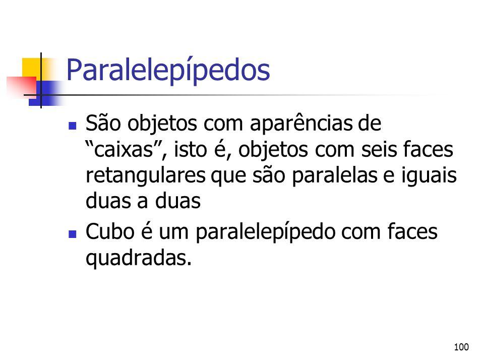 Paralelepípedos São objetos com aparências de caixas , isto é, objetos com seis faces retangulares que são paralelas e iguais duas a duas.