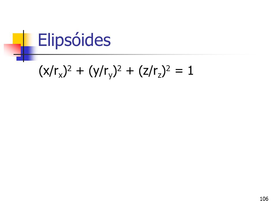 Elipsóides (x/rx)2 + (y/ry)2 + (z/rz)2 = 1