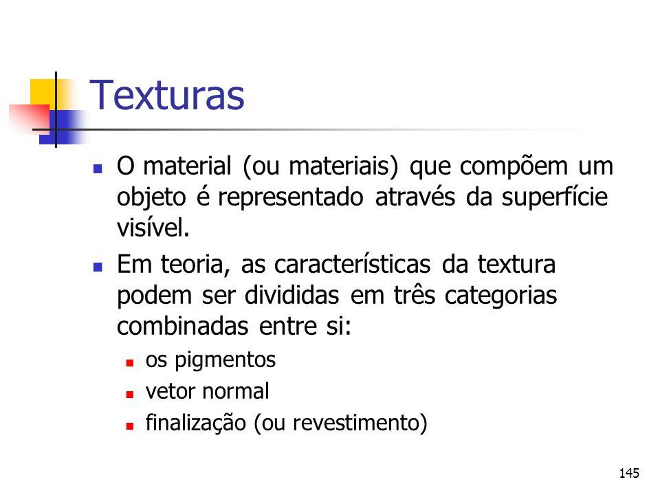 Texturas O material (ou materiais) que compõem um objeto é representado através da superfície visível.