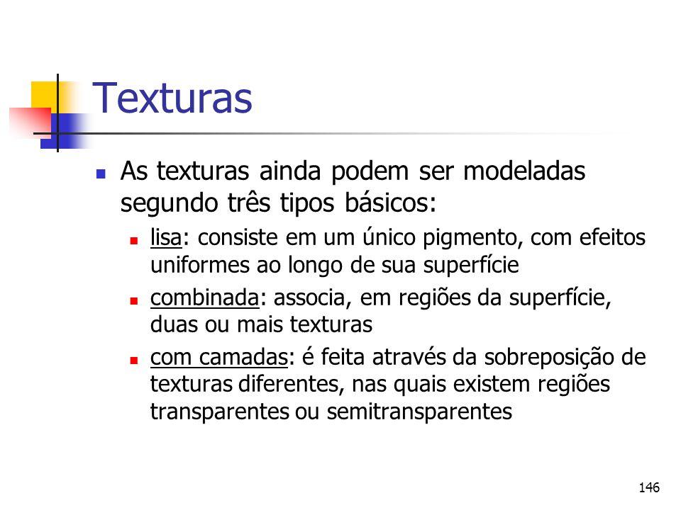 Texturas As texturas ainda podem ser modeladas segundo três tipos básicos: