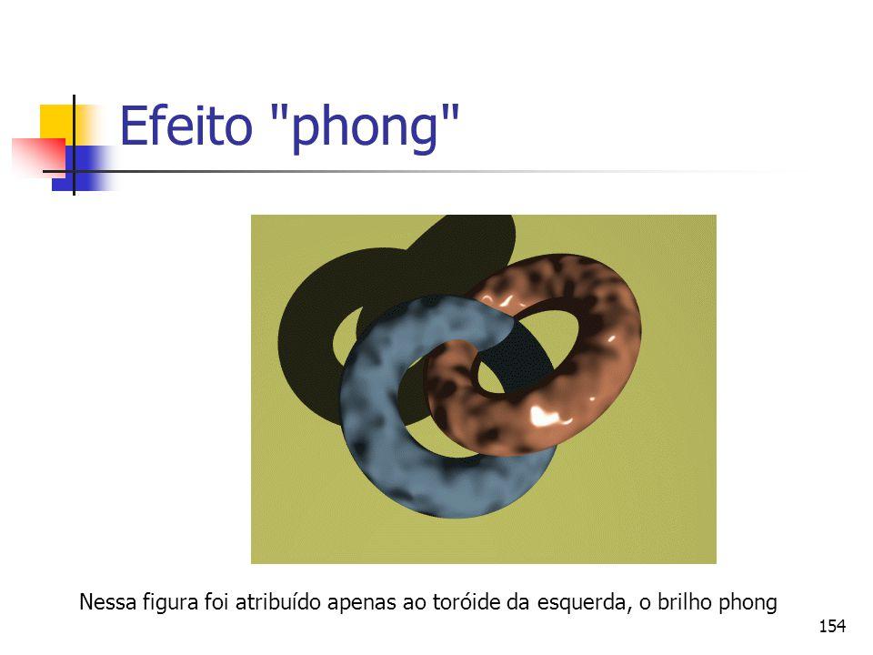 Efeito phong Nessa figura foi atribuído apenas ao toróide da esquerda, o brilho phong