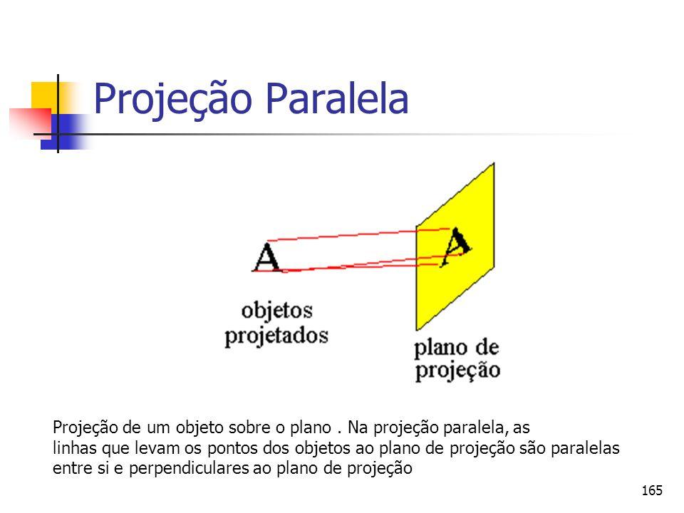 Projeção Paralela Projeção de um objeto sobre o plano . Na projeção paralela, as.