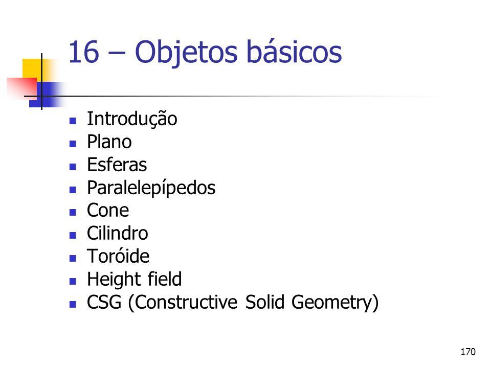 16 – Objetos básicos Introdução Plano Esferas Paralelepípedos Cone