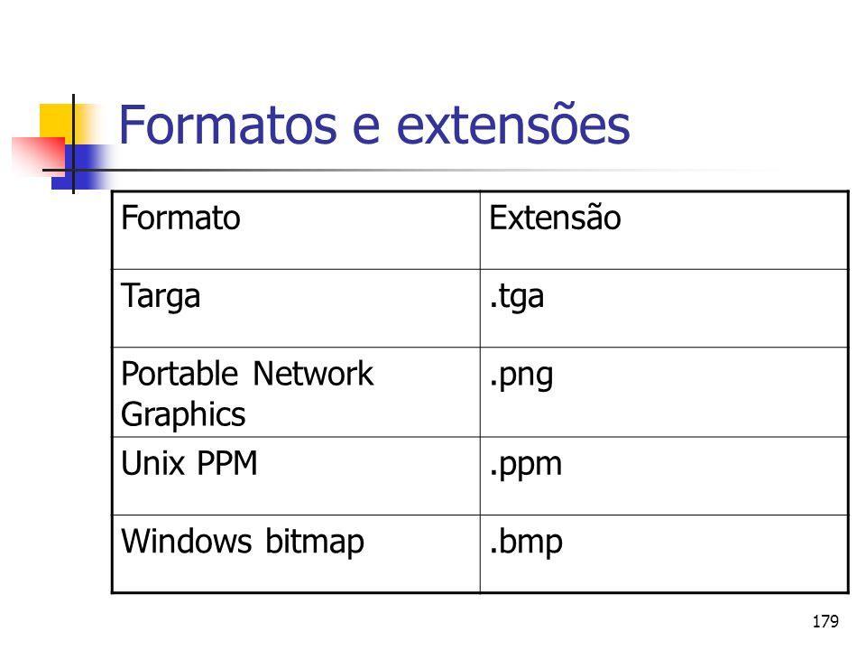 Formatos e extensões Formato Extensão Targa .tga