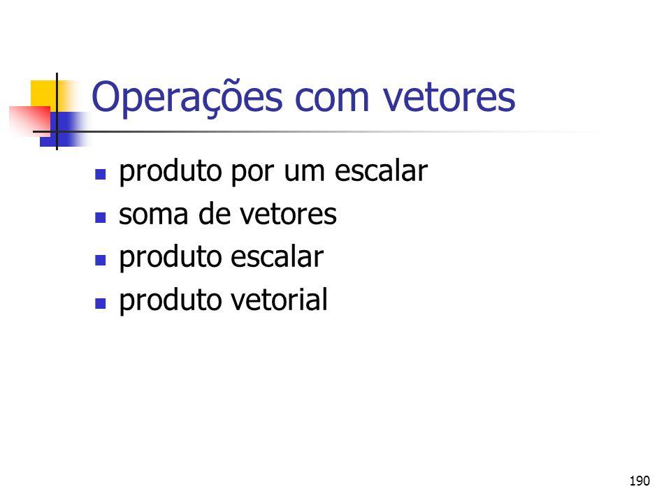 Operações com vetores produto por um escalar soma de vetores