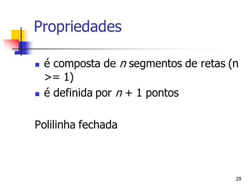Propriedades é composta de n segmentos de retas (n >= 1)