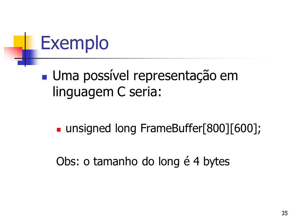 Exemplo Uma possível representação em linguagem C seria: