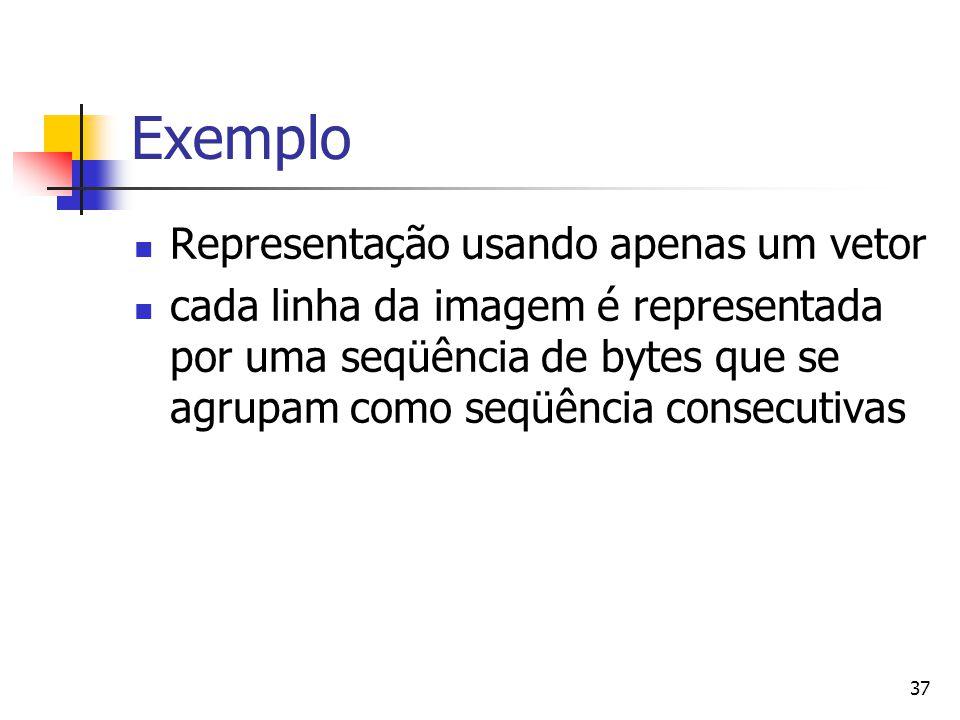 Exemplo Representação usando apenas um vetor