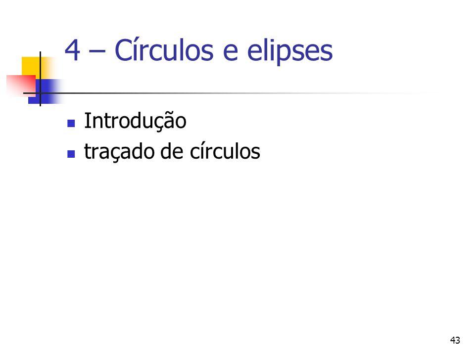 4 – Círculos e elipses Introdução traçado de círculos