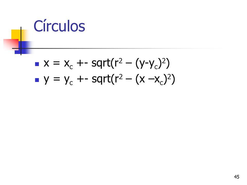 Círculos x = xc +- sqrt(r2 – (y-yc)2) y = yc +- sqrt(r2 – (x –xc)2)