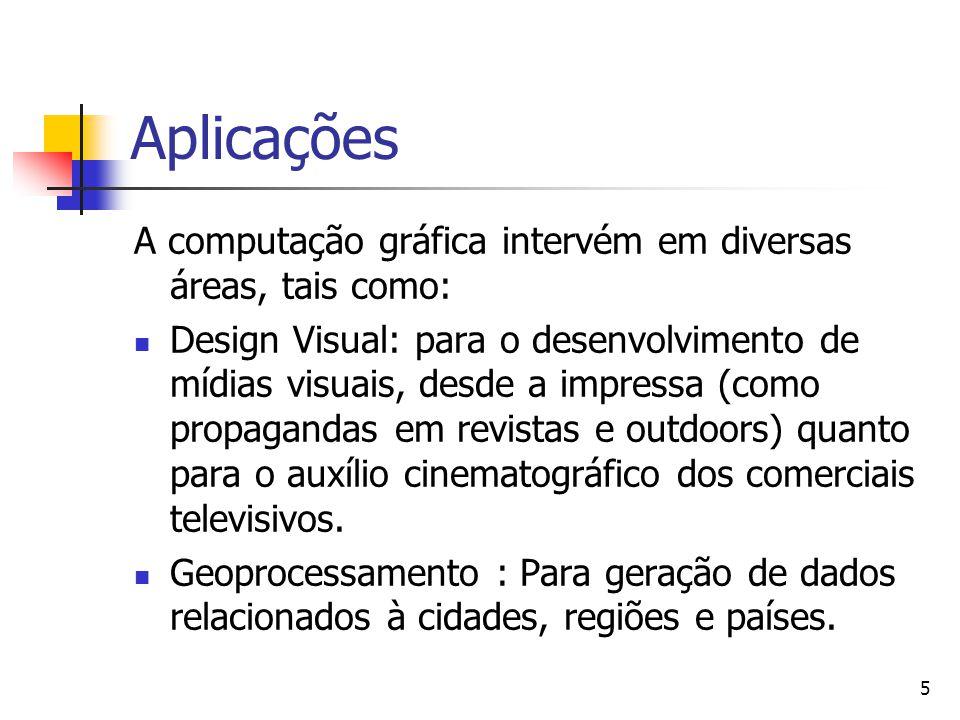 Aplicações A computação gráfica intervém em diversas áreas, tais como: