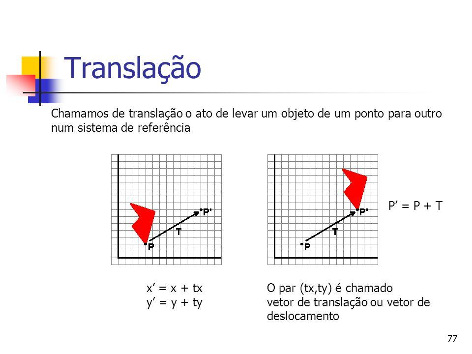 Translação Chamamos de translação o ato de levar um objeto de um ponto para outro. num sistema de referência.