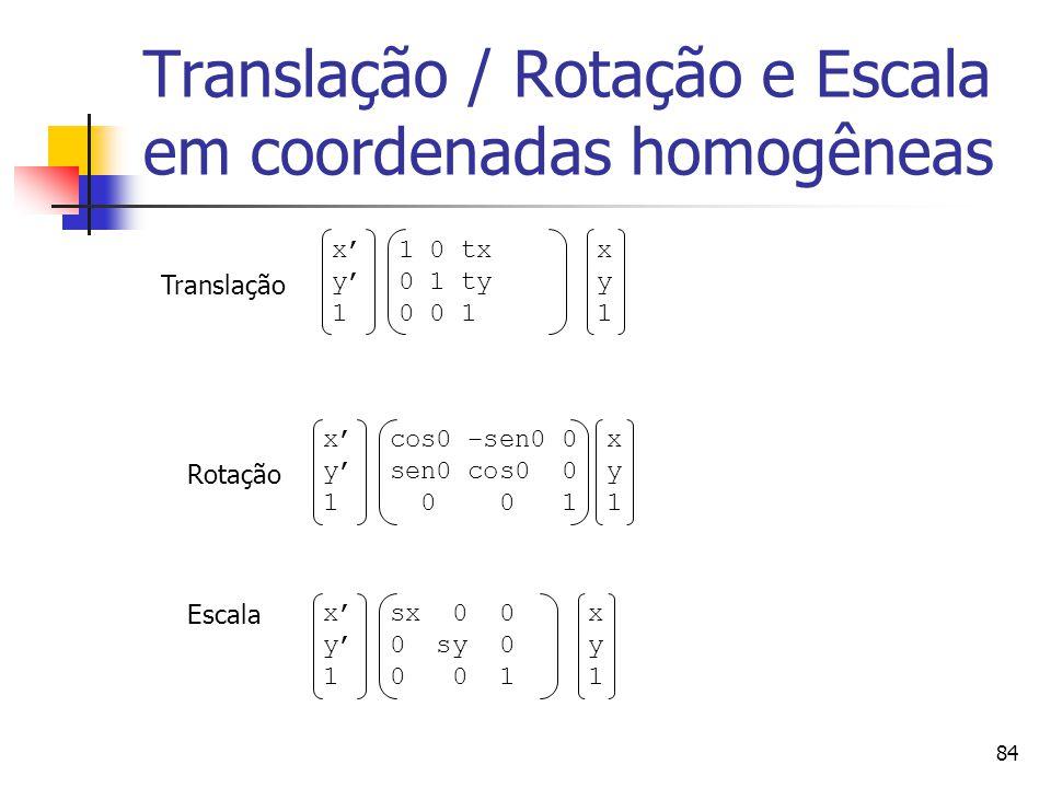 Translação / Rotação e Escala em coordenadas homogêneas