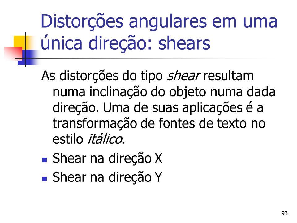 Distorções angulares em uma única direção: shears