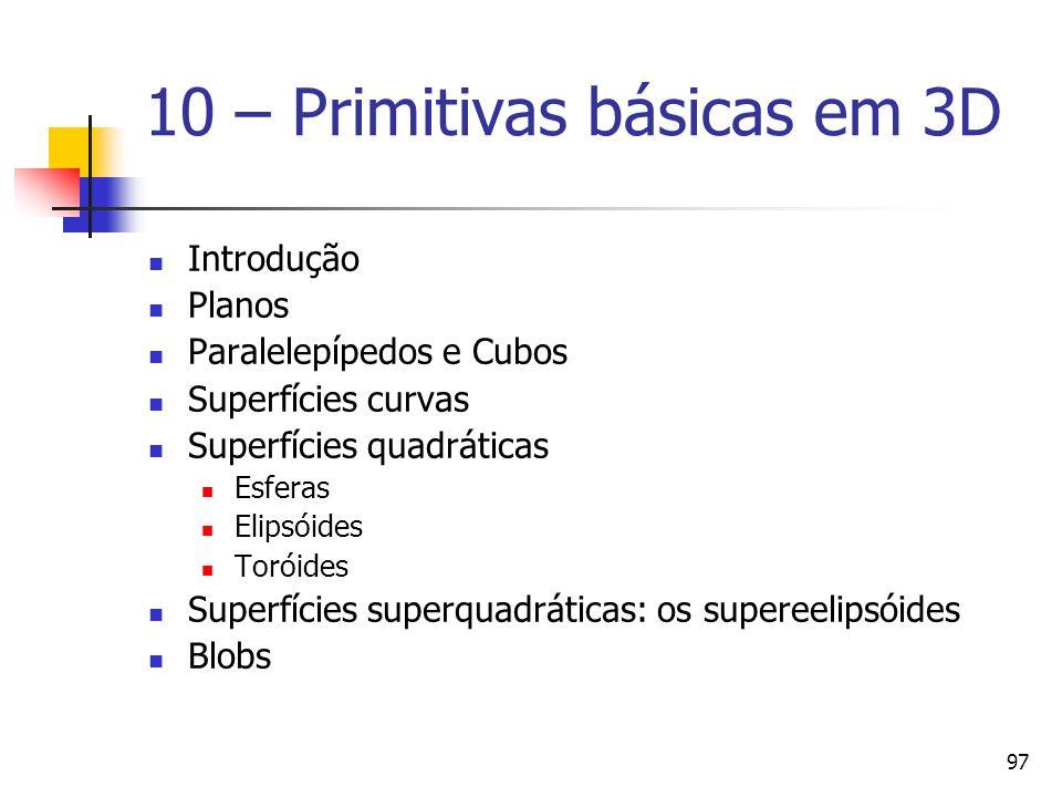 10 – Primitivas básicas em 3D