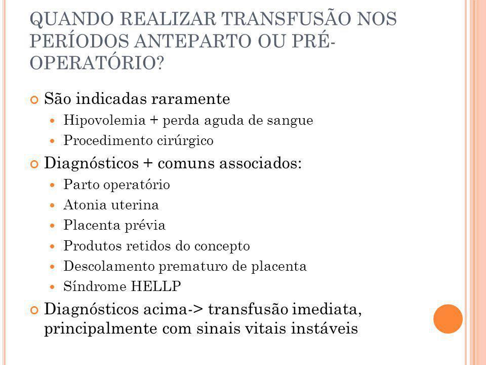 QUANDO REALIZAR TRANSFUSÃO NOS PERÍODOS ANTEPARTO OU PRÉ-OPERATÓRIO
