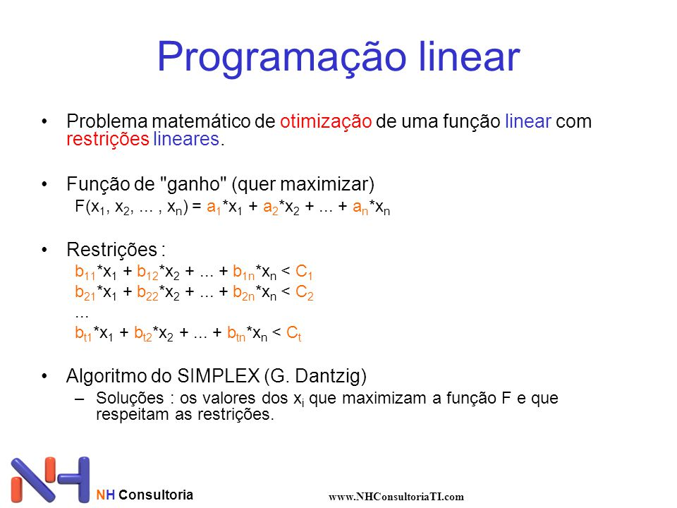 Programação linear Problema matemático de otimização de uma função linear com restrições lineares. Função de ganho (quer maximizar)