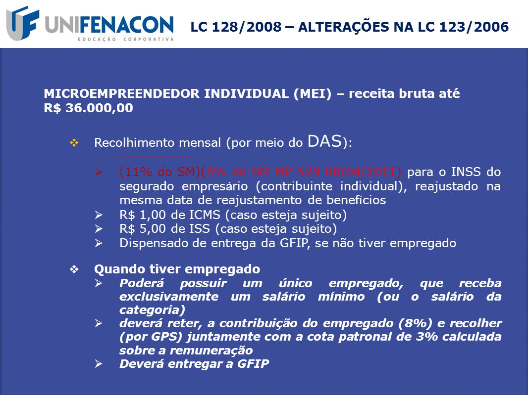LC 128/2008 – ALTERAÇÕES NA LC 123/2006 MICROEMPREENDEDOR INDIVIDUAL (MEI) – receita bruta até. R$ 36.000,00.