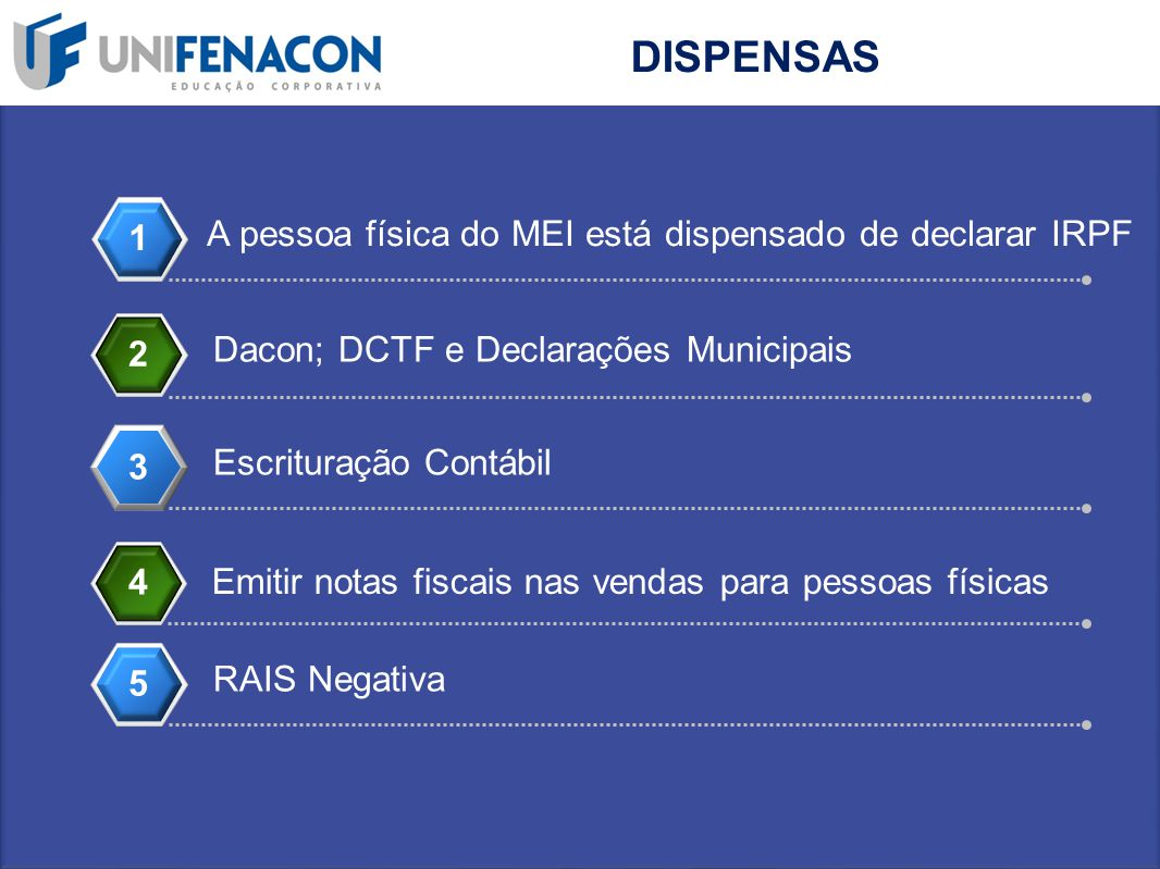 DISPENSAS 1 A pessoa física do MEI está dispensado de declarar IRPF 2