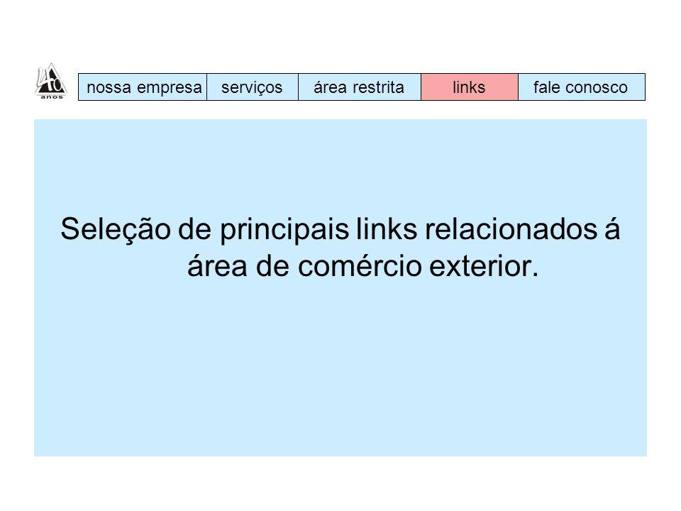 Seleção de principais links relacionados á área de comércio exterior.