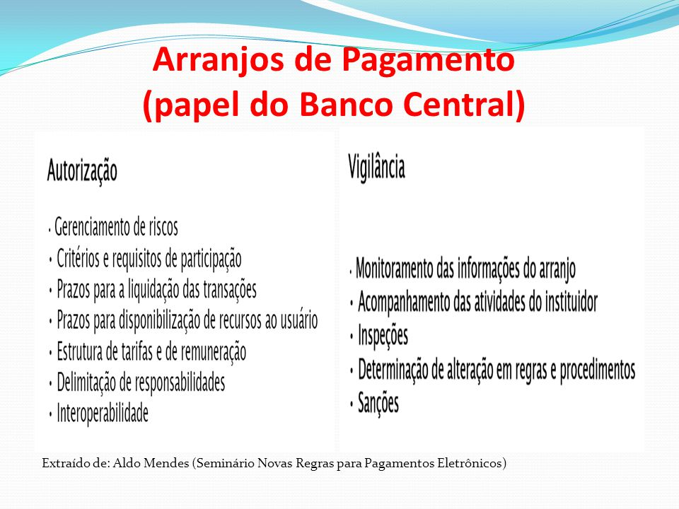 Arranjos de Pagamento (papel do Banco Central)