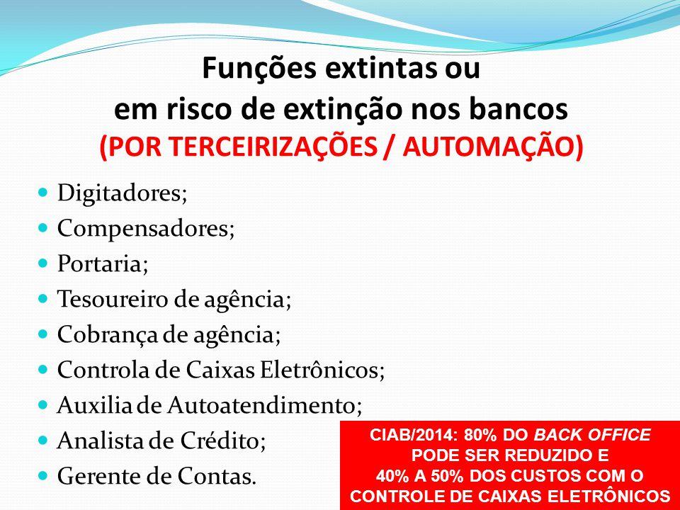 Funções extintas ou em risco de extinção nos bancos (POR TERCEIRIZAÇÕES / AUTOMAÇÃO)