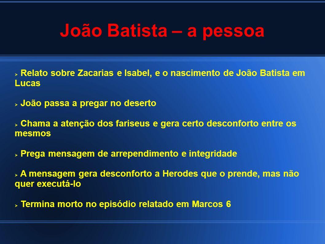 João Batista – a pessoa Relato sobre Zacarias e Isabel, e o nascimento de João Batista em Lucas. João passa a pregar no deserto.
