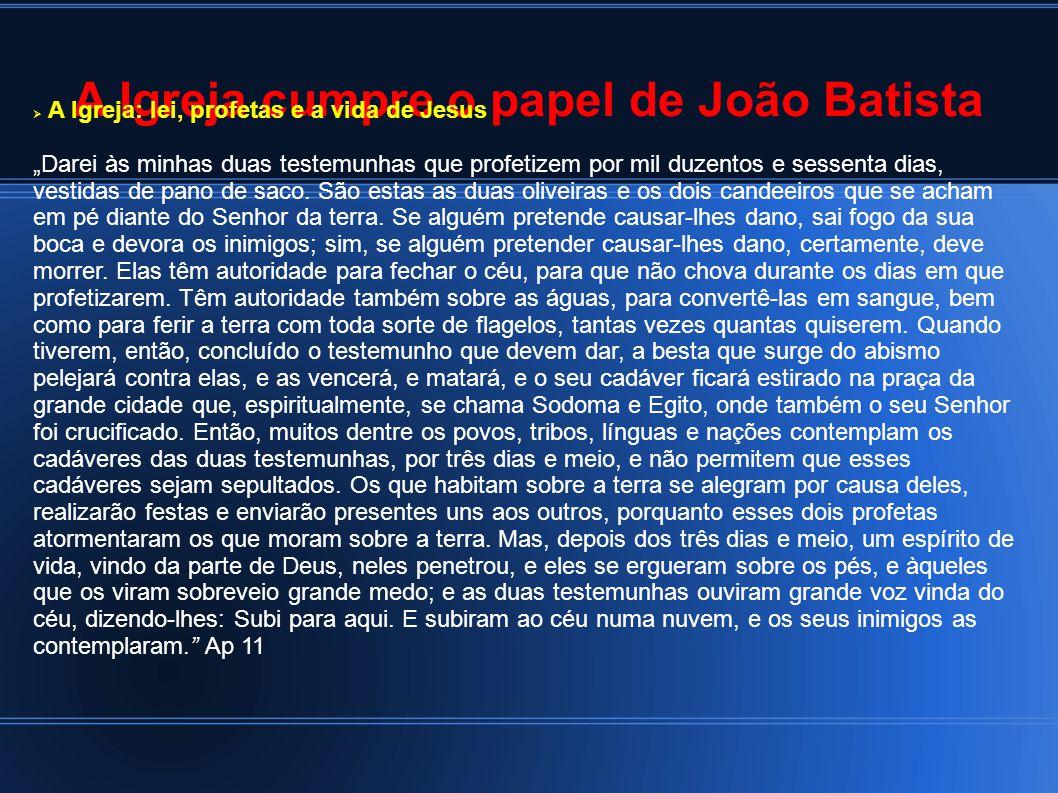 A Igreja cumpre o papel de João Batista