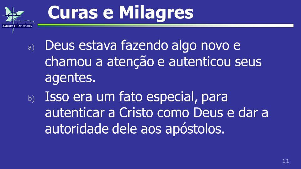 Curas e Milagres Deus estava fazendo algo novo e chamou a atenção e autenticou seus agentes.