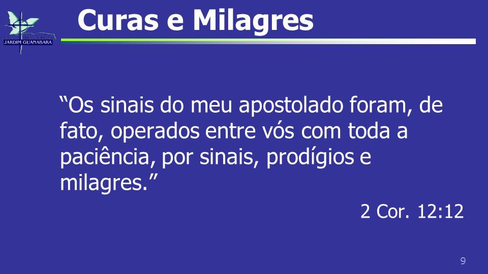 Curas e Milagres Os sinais do meu apostolado foram, de fato, operados entre vós com toda a paciência, por sinais, prodígios e milagres.