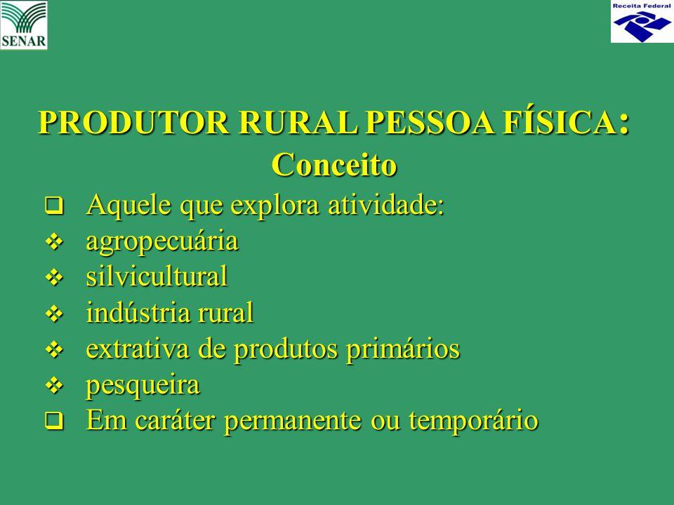PRODUTOR RURAL PESSOA FÍSICA: Conceito
