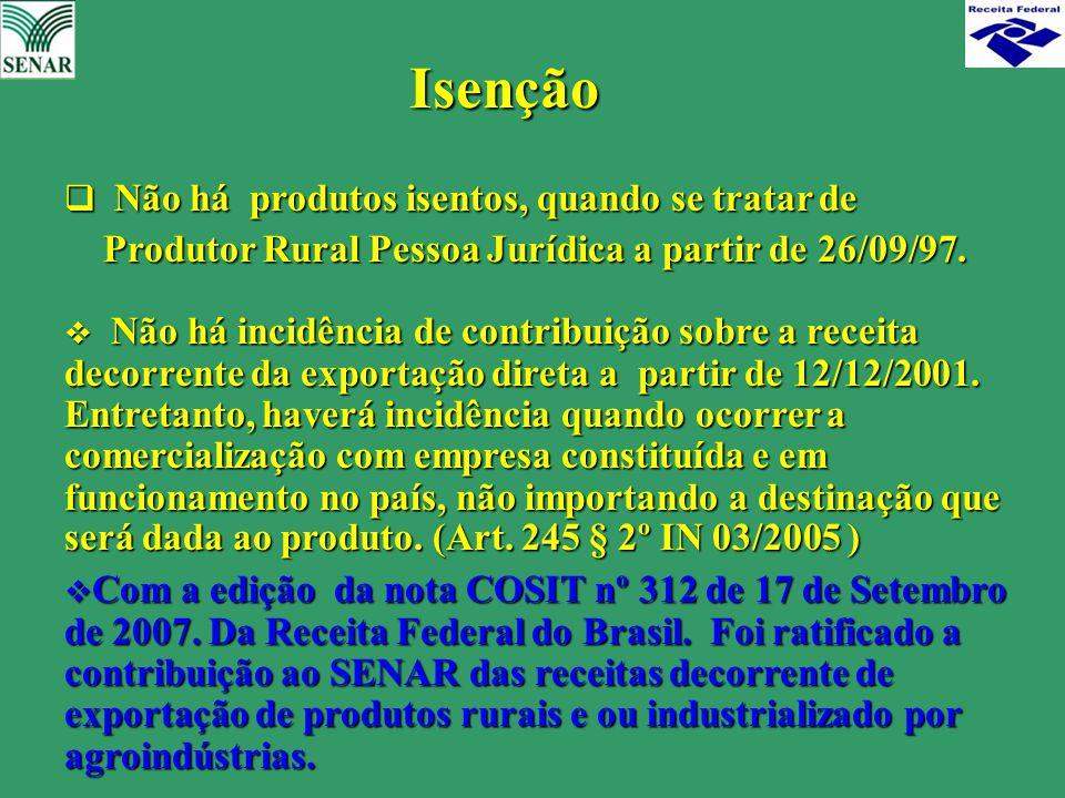 Isenção Produtor Rural Pessoa Jurídica a partir de 26/09/97.
